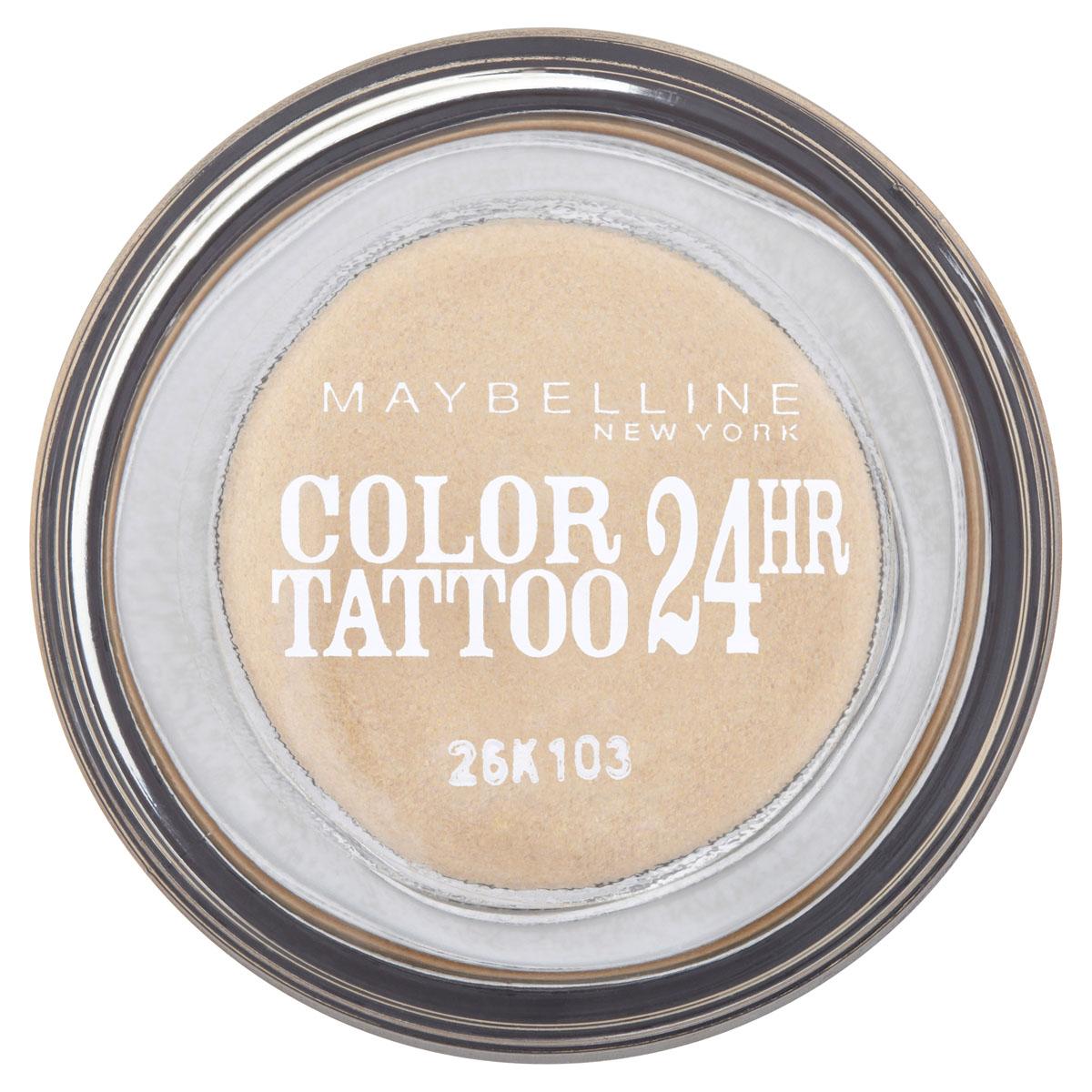 Maybelline New York Тени для век Color Tattoo 24 часа, оттенок 05, Вечное золото, 4 млB1949000Осмелься на ультраяркий, самый стойкий цвет!Супернасыщенные крем-гелевые тени с технологией тату-пигментов. Насыщенные, устойчивые тениMaybelline Color Tattoo 24 часа предназначены для дневного и вечернего макияжа. Тени словно татуировка надежно закрепляются на коже, не боятся влаги, не скатываются и не размазываются, даже если потереть глаза рукой. Товар сертифицирован.