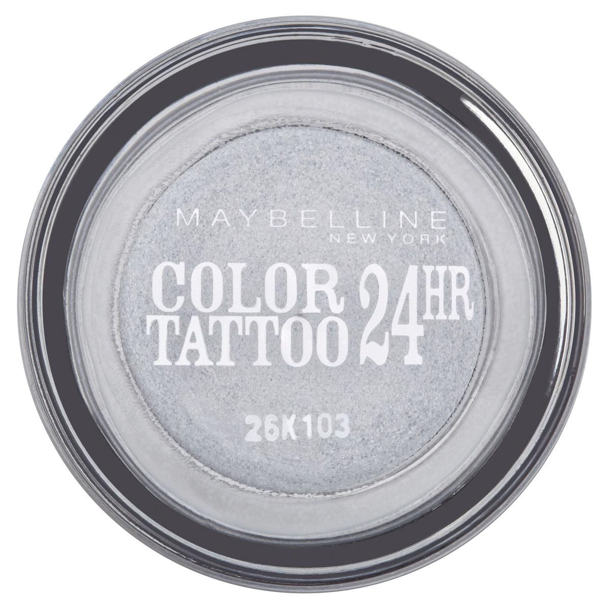 Maybelline New York Тени для век Color Tattoo 24 часа, оттенок 50, Неизменное серебро, 4 млB1949900Технология тату-пигментов создает яркий, супернасыщенный цвет. Крем-гелевая текстура обеспечивает ультралегкое нанесение и стойкость на 24 часа.12 оттенков