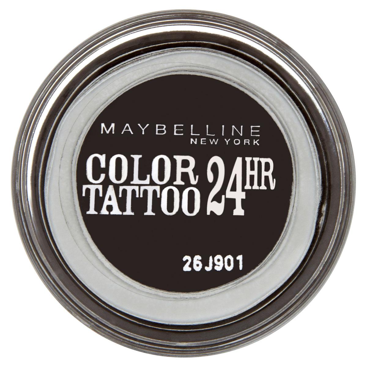 Maybelline New York Тени для век Color Tattoo 24 часа, оттенок 60, Бессменный черный, 4 млB1950100Технология тату-пигментов создает яркий, супернасыщенный цвет. Крем-гелевая текстура обеспечивает ультралегкое нанесение и стойкость на 24 часа.12 оттенков