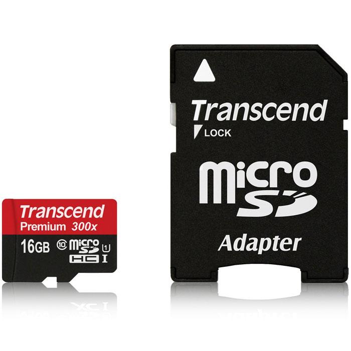 Transcend microSDHC Class 10 UHS-I 300x 16GB карта памяти с адаптеромTS16GUSDU1Карты памяти Transcend microSDHC UHS-I поддерживают спецификацию Ultra High Speed Class 1 и предназначеныдля повышения эффективности работы вашего смартфона и планшета. Карты памяти включают технологию новогопоколения и обеспечивают максимально возможное быстродействие во время работы требующих большоеколичество памяти мобильных приложений и игр, а также обеспечивают плавные запись и воспроизведениевидео в разрешении Full HD. Встроенная технология коррекции ошибок Error Correcting Code (ECC) для обнаружения и исправления ошибок при передаче данных.Внимание: перед оформлением заказа убедитесь в поддержке вашим электронным устройством карт памяти данного объема.