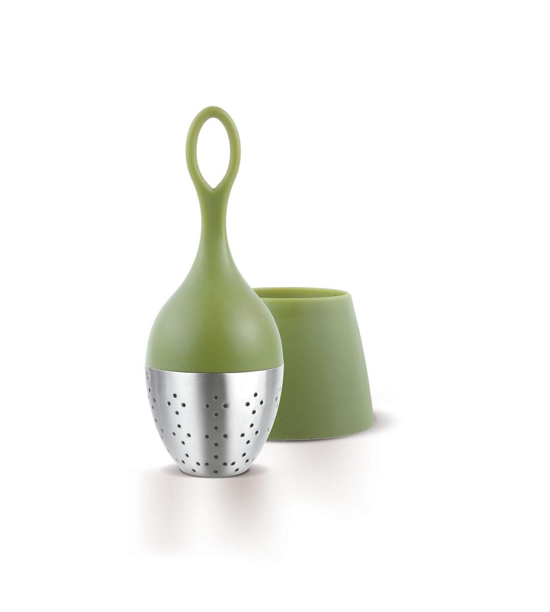 """Благодаря отлично сбалансированной форме и весу, ситечко  для заваривания чая """"AdHoc"""" плавает на поверхности и может  быть легко удалено из чашки. Изделие выполнено из  высококачественного пластика и нержавеющей стали. После  заваривания устанавливается в подставку, где собираются  последние капли. Размер ситечка: 4 х 4 х 11 см. Размер подставки: 6 х 6 х 4,5 см."""