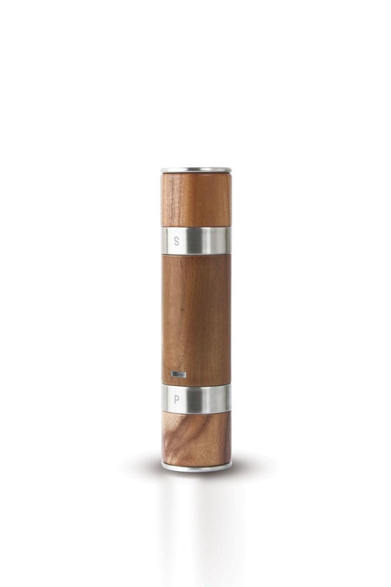 Мельница для соли и перца AdHoc Acacia, высота 21 см010.070800.018Мельница AdHoc Acacia станет незаменимым помощником на вашей кухне. Изделие представляет собой деревянный корпус, разделенный на две емкости: в одну следует засыпать кристаллическую соль, в другую - горошины перца. Надписи на металлических ободках снизу и сверху корпуса обозначают, какая приправа находится в каждой емкости.Оригинальная мельница стильного дизайна будет отлично смотреться на вашей кухне.Мельницы для перца и соли, представленные в серии Acacia, отличаются элегантным исполнением и практичностью в использовании. Корпус этих мельниц выполнен из прочной, тщательно обработанной древесины акации, а надежный мелющий механизм - из высококачественной керамики. Степень помола можно регулировать от мелкого порошка до крупных частиц.Стильная мельница из серии Acacia великолепно впишется в интерьер вашей кухни и украсит сервировку стола.Высота мельницы: 21 см.Диаметр мельницы: 5,5 см.