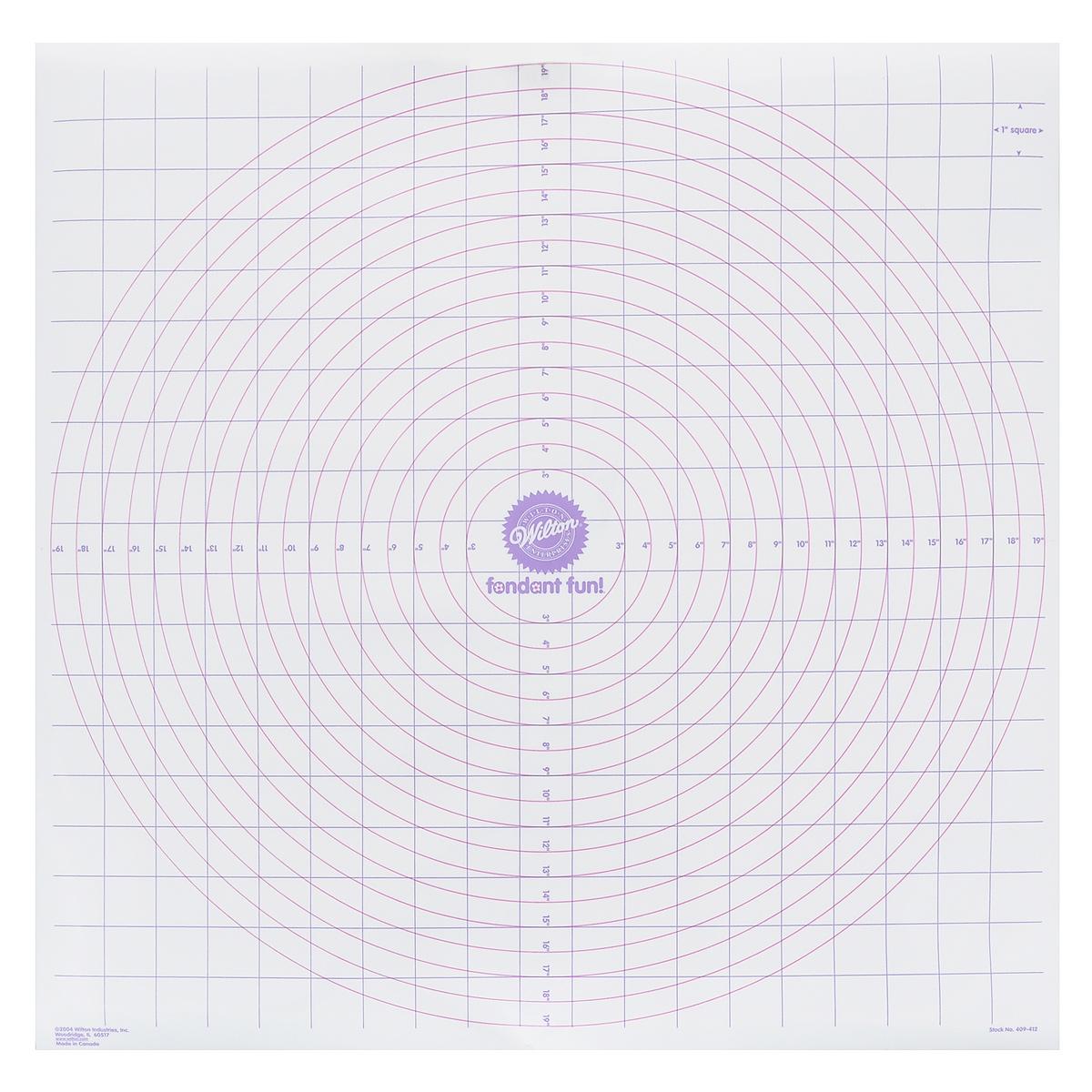 Мат кондитерский Wilton Раскатай и отрезай, 50 см х 50 смWLT-409-412Мат кондитерский Wilton Раскатай и отрезай изготовлен из тонкого пластика с неприлипающей поверхностью. Используется для точного отмеривания, раскатывания и отрезания кондитерской мастики или теста. На мат нанесены круги определенных размеров. Нанесенная сетка поможет отрезать квадраты или полосы нужного размера. Ход работы: 1. Посыпьте скалку и мат кондитерским сахаром (пудрой). 2. Положите мастику на мат, раскатайте до толщины приблизительно 0,13-0,6 см. 3. Отрежьте нужную фигуру(ы) резаком или формочкой. Кондитерский мат поможет быстро и легко приготовить тесто для вашей выпечки.
