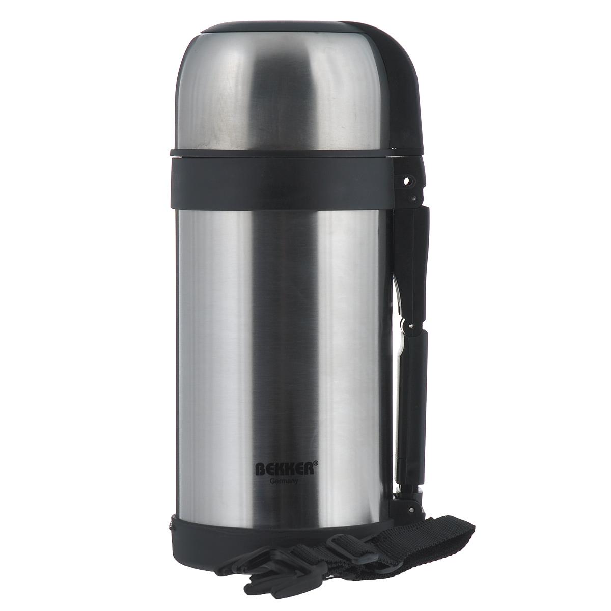 Термос Bekker с широким горлом, 1,2 лBK-77Термос с широким горлом Bekker, изготовленный из высококачественной нержавеющей стали 18/8. Двойные стенки обеспечивают долгое сохранение температуры напитка (6 часов - 75°С, 12 часов - 66°С, до 24 часов - 48°С). Подходит для напитков и для пищи. Благодаря вакуумной кнопке внутри создается абсолютная герметичность, что предотвращает проливание напитков. Крышка плотно закручивается. Верхнюю крышку можно использовать в качестве чаши для напитка. Имеется удобная ручка и съемный ремень.Стильный функциональный термос будет незаменим в дороге, на пикнике. Его можно взять с собой куда угодно, и вы всегда сможете наслаждаться горячим домашним напитком или пищей.