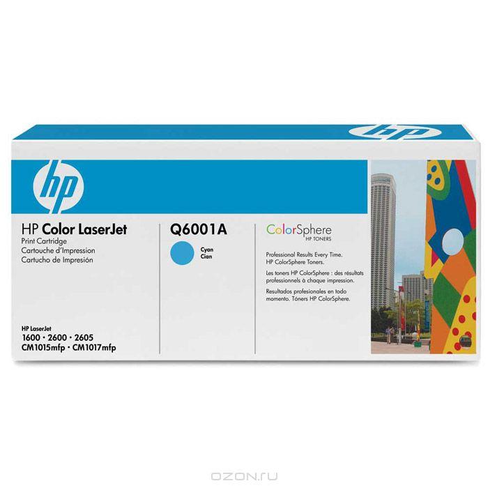 HP Q6001A, Cyan картридж для лазерных принтеровQ6001AКартридж HP 124A с тонером ColorSphere для принтеров HP Color LaserJet 1600/2600/CM1015 MFP.