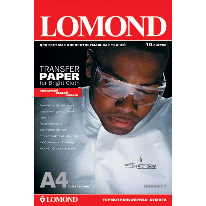 Lomond Ink Jet Transfer Bright Cloth 140/A4/10л термотрансферная бумага для светлых тканей0808411 Основа: Альфа целлюлозаТип покрытия: Ink Jet CoatedТолщина: 250 мкм
