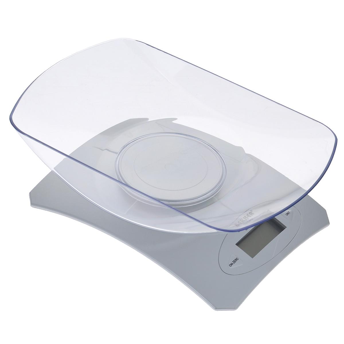 Весы кухонные Bekker, электронные, до 5 кгBK-9103Электронные кухонные весы Bekker придутся по душе каждой хозяйке и станут незаменимым аксессуаром на кухне. Корпус весов выполнен из пластика с цифровым ЖК-дисплеем. Весы выдерживают до 5 килограмм и оснащены высокоточной сенсорной измерительной системой и функцией дополнительного взвешивания. С помощью таких электронных весов можно точно контролировать пропорции ингредиентов.УВАЖАЕМЫЕ КЛИЕНТЫ!Обращаем ваше внимание, что весы работают от одной литиевой батарейки CR2032 напряжением 3V (входит в комплект). Объем чаши: 1300 мл.
