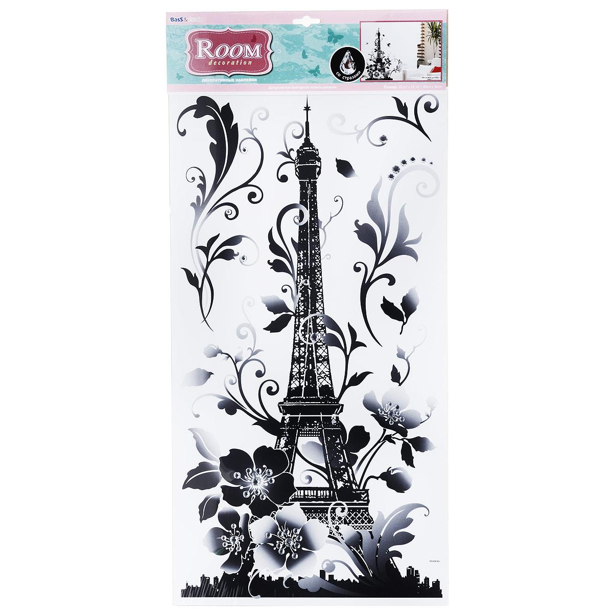 Наклейки для интерьера Room Decoration Эйфелева башня, 60 х 32 см наклейки для интерьера room decoration кокетка со стразами 50 х 32 см