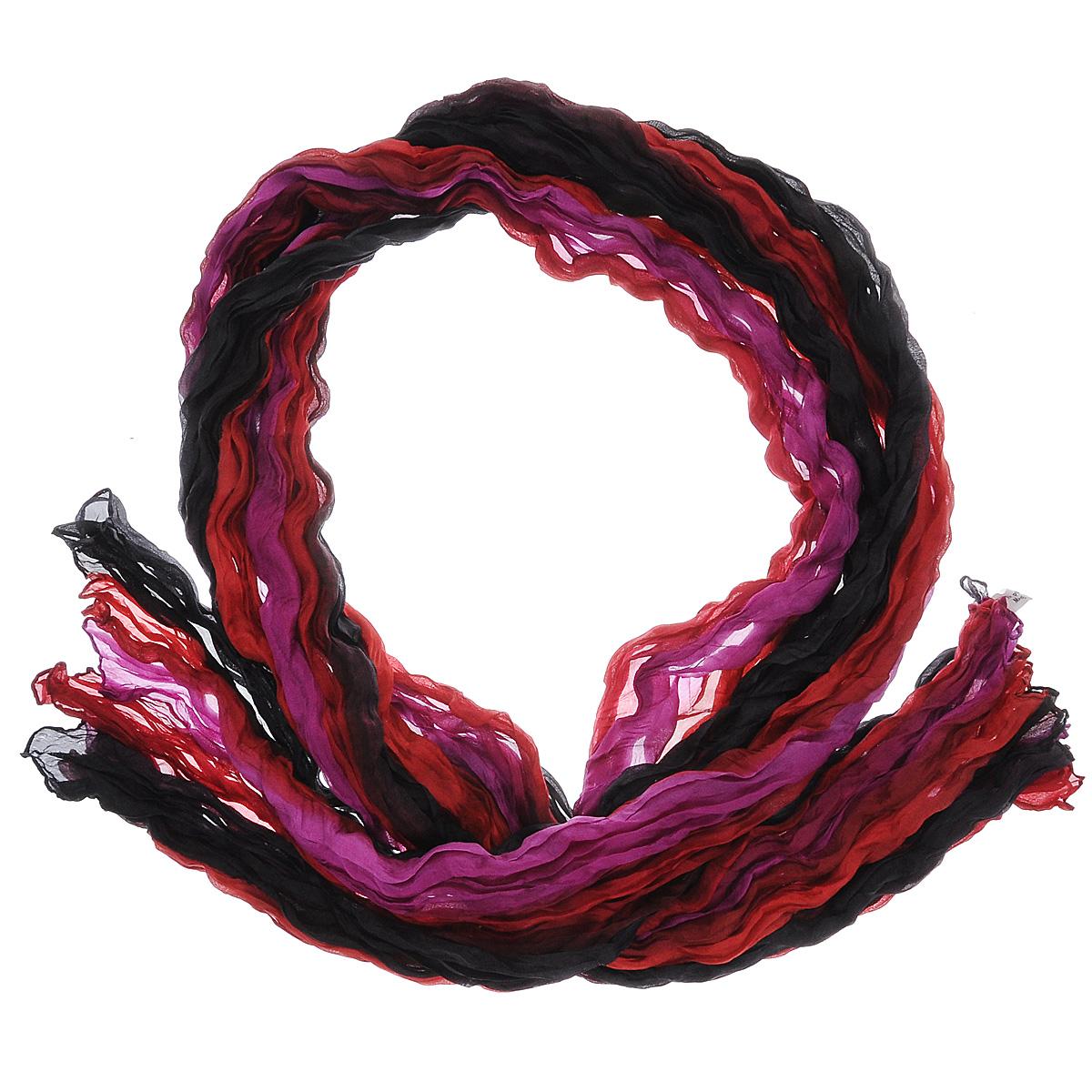 Шарф женский Ethnica, цвет: красный, черный, цикламен. 415260н. Размер 100 см х 170 см415260нЭлегантный шарф Ethnica станет изысканным нарядным аксессуаром, который призван подчеркнуть индивидуальность и очарование женщины. Шарф жатой фактуры выполнен из 100% шелка и оформлен цветными полосками. Этот модный аксессуар женского гардероба гармонично дополнит образ современной женщины, следящей за своим имиджем и стремящейся всегда оставаться стильной и элегантной. В этом шарфе вы всегда будете выглядеть женственной и привлекательной.