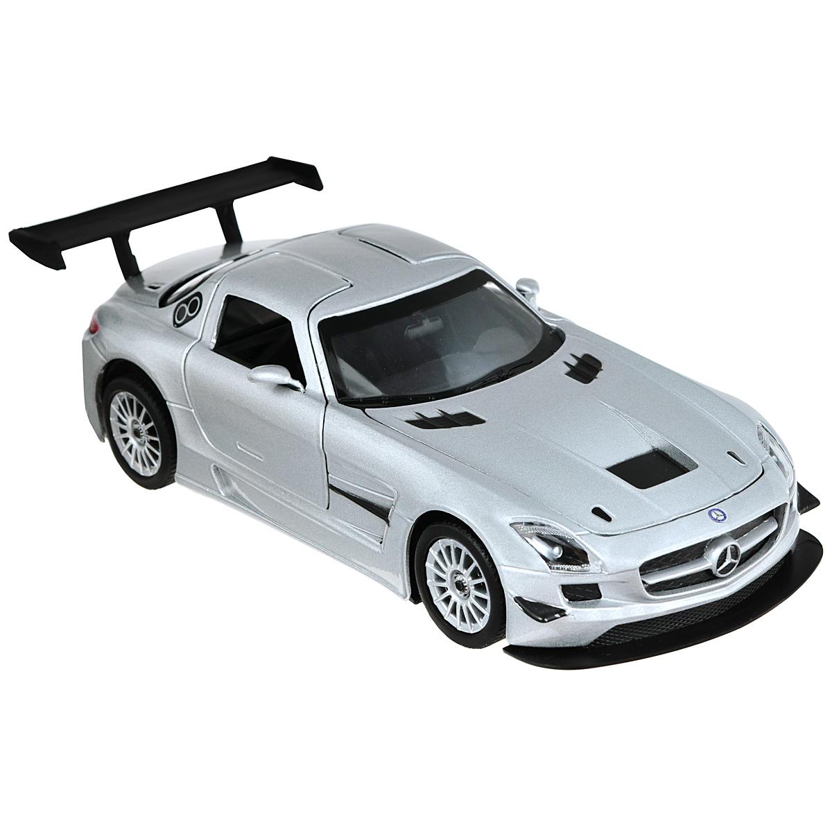Коллекционная модель MotorMax Mercedes Benz SLS АMG GT3, цвет: серебристый. Масштаб 1/24 bburago модель автомобиля mercedes benz sls amg roadster