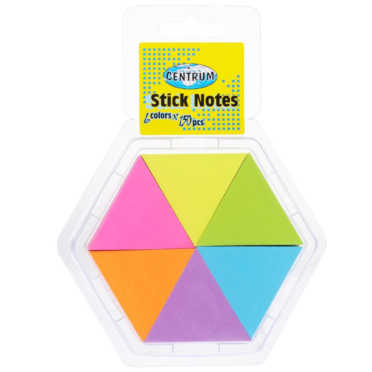Набор блоков для записей Centrum, с липким слоем, 4,3 см х 5 см, 6 шт82883Цветная бумага из блоков Centrum идеально подойдет для важных пометок и записей. Яркие неоновые оттенки, высокое качество и оригинальный дизайн в форме треугольника выделяют предлагаемую бумагу из ряда подобных. Набор включает 6 блоков оранжевого, салатового, желтого, голубого, фиолетового и ярко-розового цветов. Каждый блок состоит из 150 листочков с липким слоем.