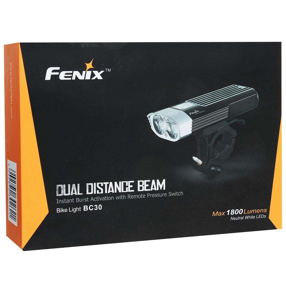 Компания Fenix предлагает велофару Fenix BC30, которая рассчитана на пользователей особенно требовательных к качеству ночного освещения. В сумме два встроенных диода Cree XM-L дают яркость света 1800 люмен. На усмотрение пользователя можно установить 1 из режимов, что позволяет выбрать мощность света от 100 до 1800 люмен. Дальность освещения велофары составляет 146 метров.Дополнительным преимуществом осветительного прибора является простота его крепления на руль велосипеда. Крепления, которые входят в стандартный комплект, рассчитаны на толщину руля от 2 до 3,5 см. Отсоединить фару достаточно просто и быстро, поэтому ее можно использовать и в качестве мощного ручного фонаря.
