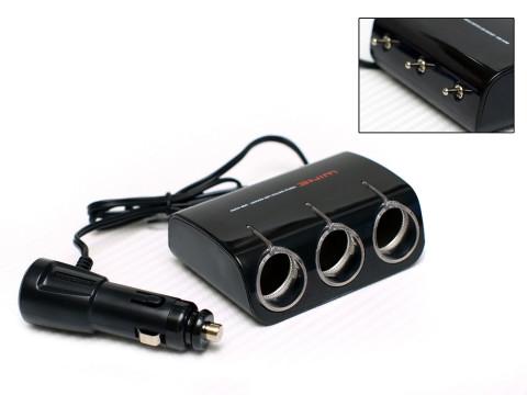 Разветвитель прикуривателя Wine USB & Triple Socket With LED, 3 гнезда, шнур с USB-входом, тумблеры, черныйAW-Z06Разветвитель прикуривателя на 3 гнезда, шнур с USB-входом, тумблеры, черного цвета.
