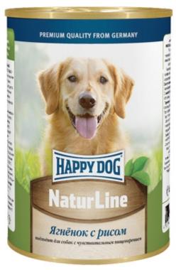 Консервы для собак Happy Dog Natur, с ягненком и рисом, кусочки в соусе, 400 г15872Каждому хочется кормить своего питомца не только полезным и сбалансированным, но и вкусным питанием, которое собака будет кушать с удовольствием и в достаточном количестве, ведь от этого напрямую зависит самочувствие животного. Если ваш пушистый друг отдает предпочтение влажным кормам, тогда на роль полноценного рациона можно выбрать консервы Happy Dog Natur с ягненком и рисом. Консервы для собак Happy Dog Natur с ягненком и рисом подходят для кормления собак любых пород и содержат умеренное количество калорий, чтобы животное оставалось в хорошей форме и не набирало лишние килограммы. Мягкая консистенция консервов прекрасно разжевывается даже самыми маленькими питомцами и хорошо усваивается, что сводит к минимуму риск появления кишечных расстройств и нарушений работы пищеварительной системы. Снижению вероятности появления аллергических реакций также будет содействовать наличие в составе ограниченного количества высококачественных ингредиентов и отсутствие сои, искусственных красителей и консервантов. Мясо ягненка обеспечит животное качественным белком. Рис является прекрасным дополнением к мясу ягненка и, в отличие от других злаков, не содержит глютен. Рис также является прекрасным средством профилактики гастрита, что обусловлено обволакивающим действием данной культуры. В том числе рис поможет нормализовать обменные процессы, поддержит нервную систему, улучшит состояние кожи, шерсти и когтей. Комплекс витаминов и минералов дополнит рацион необходимым количеством важных для здоровья веществ, которые не содержатся или содержатся в недостаточном количестве в остальных входящих в состав ингредиентах. Растительные масла содержат фосфолипиды, жирные кислоты, витамины и жиры. Фосфолипиды являются строительным материалом клеточных мембран. Жиры обеспечивают организм энергией.Состав: мясо ягненка, рис, витаминно-минеральная комплекс, растительное масло.Питательные вещества: протеин 11%, жир 4
