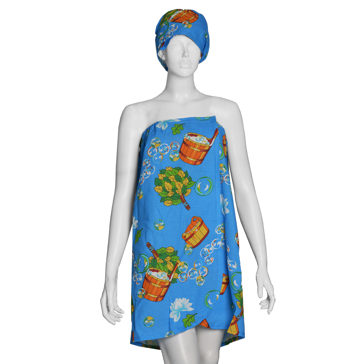Комплект для бани и сауны Ева женский, цвет: голубой, 2 предмета. БН26 сауны бани и оборудование valentini набор для сауны camomile цвет розовый