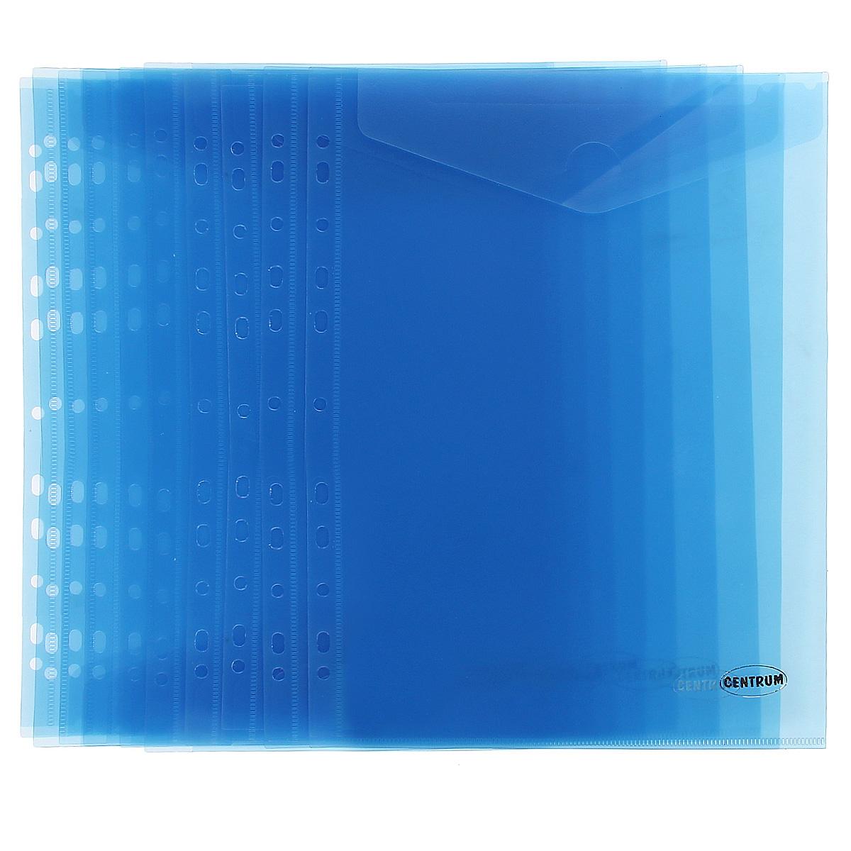 Папка-конверт Centrum, вертикальная, с перфорацией, цвет: синий. Формат А4, 10 шт80630_синийПапка-конверт Centrum - это удобный и практичный офисный инструмент, предназначенный для хранения и транспортировки рабочих бумаг и документов формата А4. Папка изготовлена из полупрозрачного матового пластика, имеет перфорацию. В комплект входят 10 папок формата А4. Папка-конверт - это незаменимый атрибут для студента, школьника, офисного работника. Такая папка надежно сохранит ваши документы и сбережет их от повреждений, пыли и влаги.