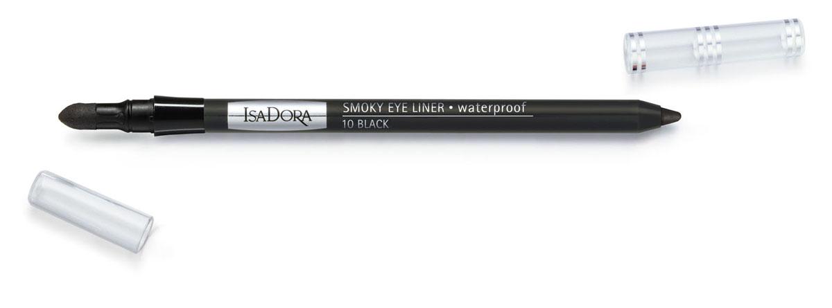 Isa Dora Карандаш для век Smoky Eye Liner, водостойкий, с аппликатором, тон 10 Black, 1,2 г113610Подводка в форме карандаша со встроенным аппликатором для быстрого и простого создания макияжа smoky eye. Кремовая насыщенная пигментами текстура. Водостойкая формула. Суперустойчивый макияж - до 12 часов. Не размазывается и не отпечатывается на веках. Также можно использовать для контура внутреннего века. Клинически тестировано Товар сертифицирован.