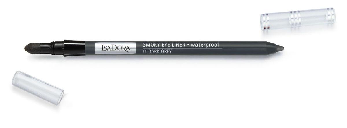 Isa Dora Карандаш для век Smoky Eye Liner, водостойкий, с аппликатором, тон 11 Dark Grey, 1,2 г113611Подводка в форме карандаша со встроенным аппликатором для быстрого и простого создания макияжа smoky eye. Кремовая насыщенная пигментами текстура. Водостойкая формула. Суперустойчивый макияж - до 12 часов. Не размазывается и не отпечатывается на веках. Также можно использовать для контура внутреннего века. Клинически тестировано Товар сертифицирован.