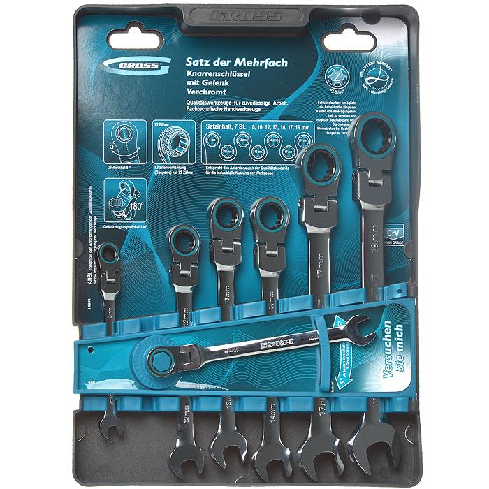 Набор комбинированных ключей Gross, шарнирные, с трещоткой, 7 шт заклепочник усиленный gross 40409