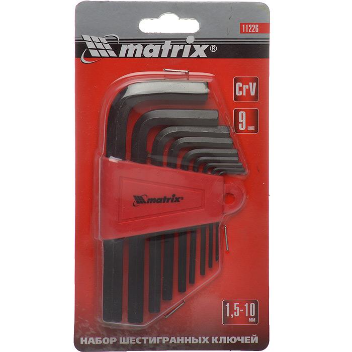 Набор шестигранников Matrix, 9 шт11226Набор ключей-шестигранников Matrix предназначен для работы с крепежом, оснащенным внутренним шестигранным гнездом. Ключи изготовлены из хромованадиевой стали. Размеры ключей: 1,5 мм, 2 мм, 2,5 мм, 3 мм, 4 мм, 5 мм, 6 мм, 8 мм, 10 мм.