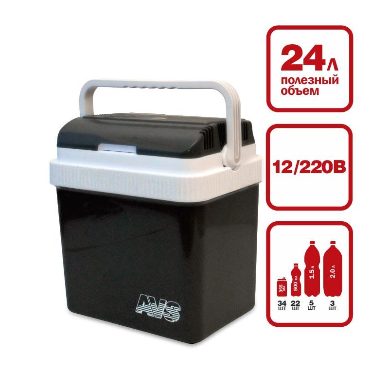 """Компактные размеры позволяют разместить холодильник AVS """"CC-24NB"""" в любой части вашего автомобиля. Отлично охлаждает напитки и сохраняет скоропортящиеся продукты в любую жару, в самых суровых условиях путешествия. На верхней крышке расположены подстаканники. Питание: 220В/12В.  Мощность в режиме охлаждения: 48 Вт.  Мощность в режиме нагрева: 36 Вт.  Емкость: 24 л.  Принцип работы по эффекту """"Пельтье"""".  Максимальное охлаждение: 15-18°С от температуры окружающей среды.  Минимальная температура охлаждения: +5°С (при температуре окружающей среды не выше +23°С и непрерывной работе не менее 3 часов).  Максимальный нагрев: +65°С.  Вес: 4,2 кг."""