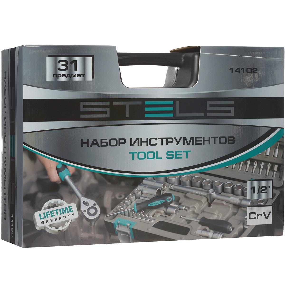 Набор инструментов Stels, 31 предмет14102Набор инструментов торговой марки Stels разработан специально для автолюбителей и центров технического обслуживания. Каждый этап производства контролируется в соответствии с международными стандартами. Головки и комбинированные ключи изготовлены из хромованадиевой стали, придающей инструменту исключительную твердость в сочетании с легкостью. Набор упакован в кейс, изготовленный из жесткого противоударного пластика.Состав набора:Ключ трещоточный 1/2.Головки торцевые 1/2: 8 мм, 10 мм, 11 мм, 12 мм, 13 мм, 14 мм, 15 мм, 17 мм, 18 мм, 19 мм, 22 мм, 24 мм, 27 мм, 30 мм, 32 мм.Адаптер трехсторонний 1/2.Удлинители 1/2: 125 мм, 250 мм.Головки свечные 1/2: 16 мм, 21 мм.Ключи комбинированные: 8 мм, 9 мм. 10 мм, 11 мм, 12 мм, 13 мм, 14 мм, 17 мм, 18 мм, 19 мм.
