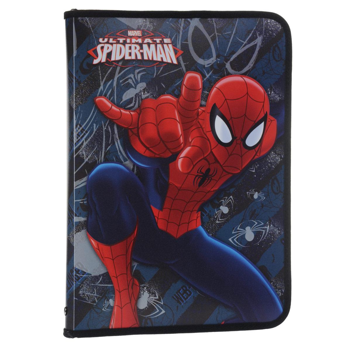 Папка для труда Spider-Man, цвет: темно-синий, красный. Формат А4FS-36054Папка для труда Spider-Man предназначена для хранения тетрадей, рисунков и прочих бумаг формата А4, а также ручек, карандашей, ластиков и точилок. Внутри находится одно большое отделение с вкладышем, содержащим 10 фиксаторов для школьных принадлежностей и фиксатор для тетрадей. Папка выполнена из прочного полипропилена и оформлена изображением Человека-Паука. Надежная застежка-молния вокруг папки обеспечивает максимальный комфорт в использовании изделия, позволяя быстро открыть и закрыть папку.