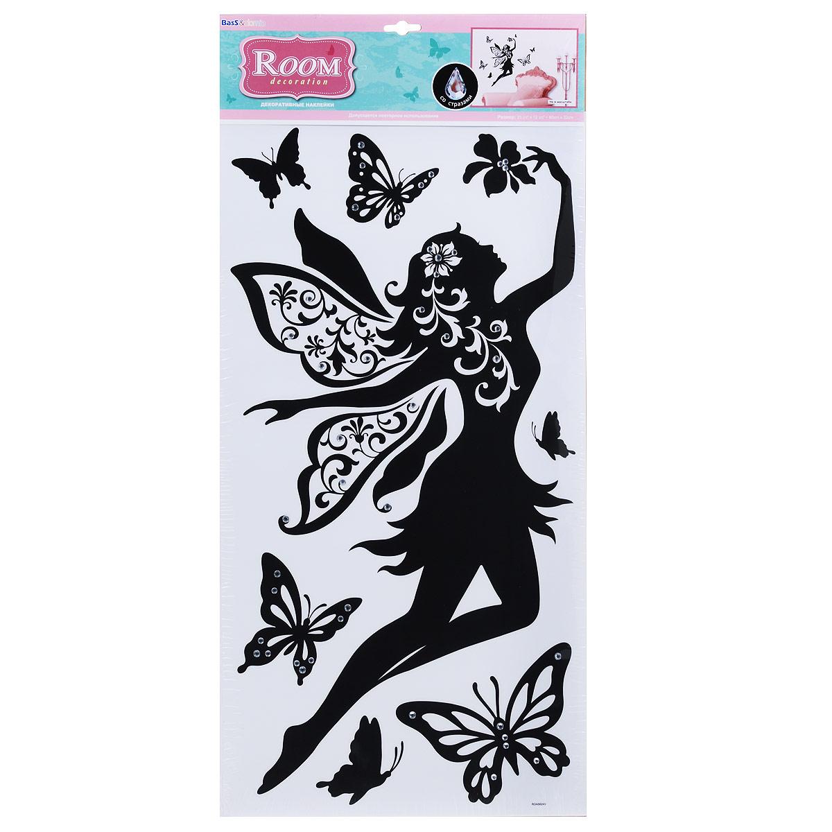 Наклейки для интерьера Room Decoration Летящая фея, со стразами, 60 х 32 см наклейки для интерьера room decoration цветы и бабочки 60 см х 32 см