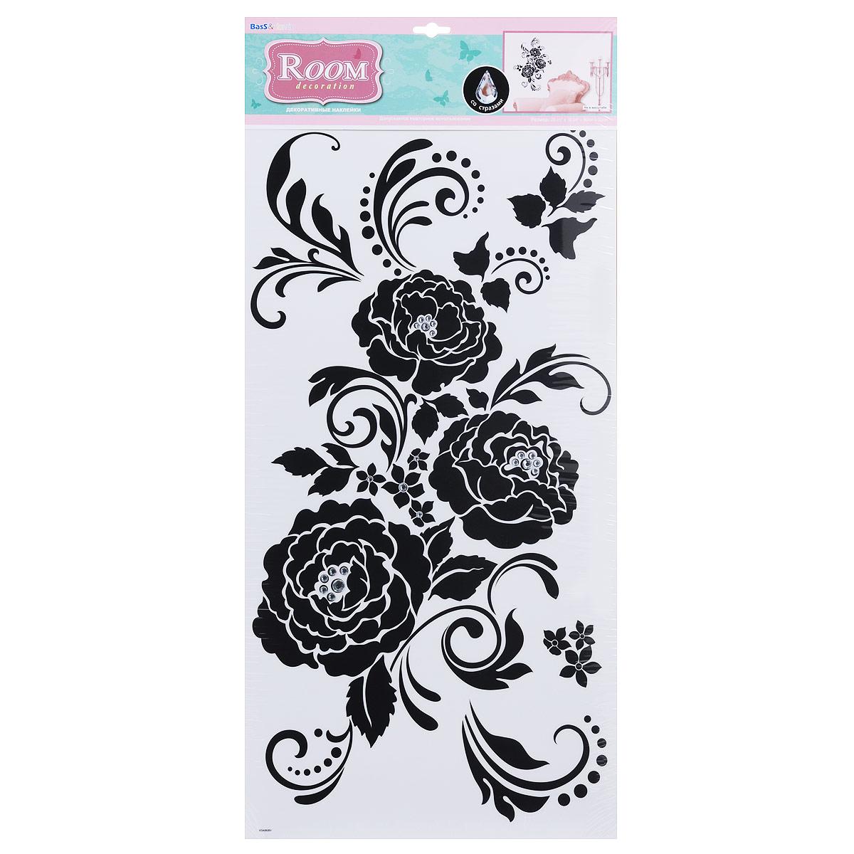 Наклейка для интерьера Room Decoration Черная роза, со стразами, 60 см х 32 см наклейки для интерьера room decoration цветы и бабочки 60 см х 32 см