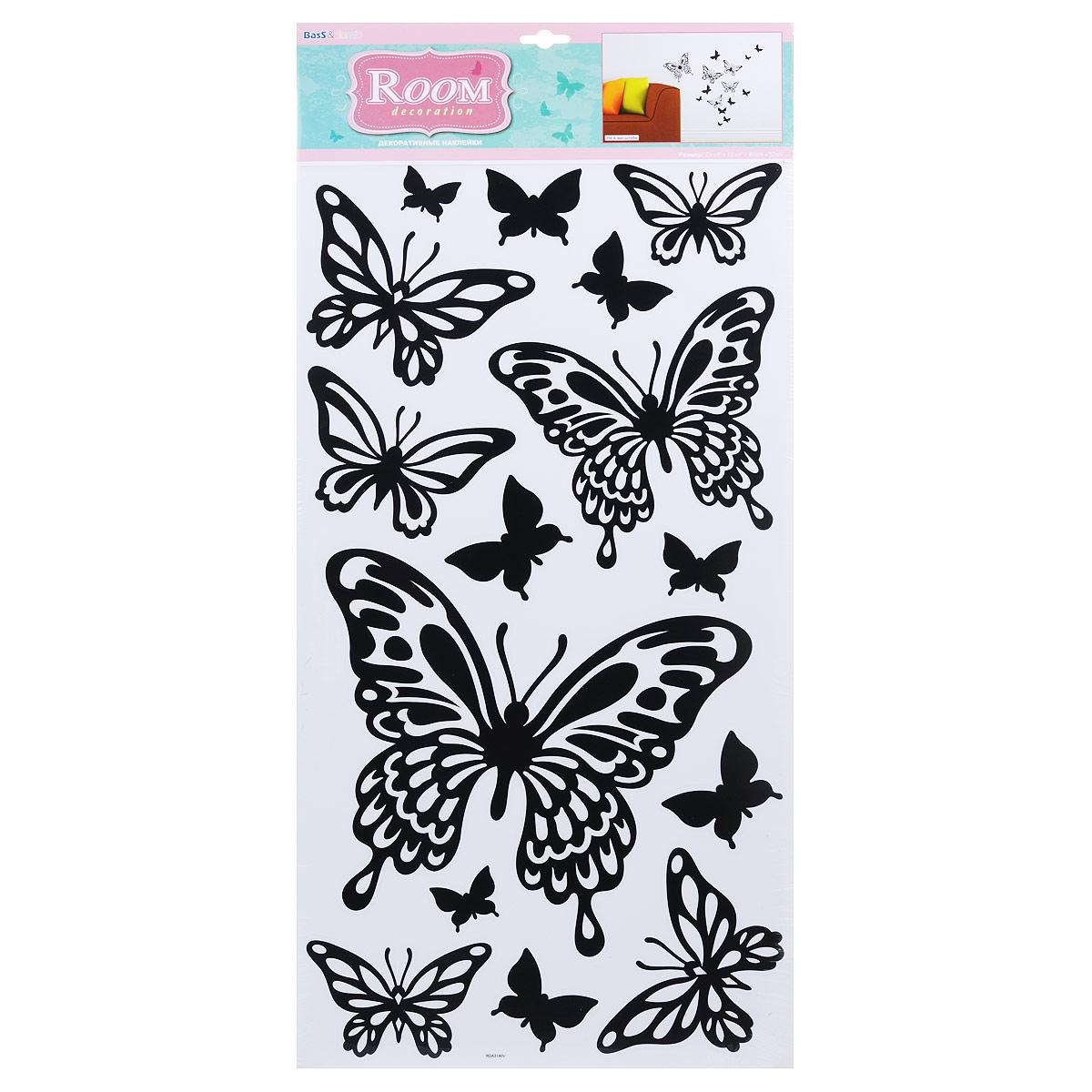 Наклейки для интерьера Room Decoration Бабочки черные, 60 х 32 см наклейки для интерьера room decoration кокетка со стразами 50 х 32 см