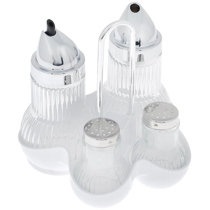 Набор диспенсеров на подставке Fackelmann, цвет: белый, 5 предметов46972Набор Fackelmann состоит из диспенсера для соли, диспенсера для перца, диспенсера для сахара и молочника. Предметы набора выполнены из стекла с рельефной поверхностью. Емкости для соли и перца снабжены металлическими крышками с отверстиями благодаря которым, вы сможете приправить блюда, просто перевернув их. Емкость для сахара и молочник оснащены пластиковыми крышками с дозаторами. Предметы набора компактно размещаются на круглой пластиковой подставке с удобной ручкой. Подставка имеет отсек для хранения зубочисток и выемки, благодаря которым каждый предмет надежно удерживается на своем месте. Набор Fackelmann станет отличным подарком каждой хозяйке. Нельзя использовать в посудомоечной машине.