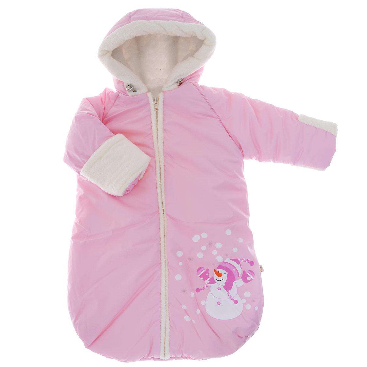 Конверт для новорожденного Сонный гномик Снеговичок, цвет: розовый. 980/2. Возраст 0/9 месяцев980/2Теплый конверт для новорожденного Сонный гномик Снеговичок идеально подойдет для ребенка в холодное время года. Конверт изготовлен из водоотталкивающей и ветрозащитной ткани Dewspo (100% полиэстер) на подкладке из шерсти с добавлением полиэстера. В качестве утеплителя используется шелтер (100% полиэстер).Шелтер (Shelter) - утеплитель нового поколения с тонкими волокнами. Его более мягкие ячейки лучше удерживают воздух, эффективнее сохраняя тепло. Более частые связи между волокнами делают утеплитель прочным и позволяют сохранить его свойства даже после многократных стирок. Утеплитель шелтер максимально защищает от холода и не стесняет движений.Конверт с капюшоном и рукавами-реглан спереди застегивается на длинную застежку-молнию. Капюшон не отстегивается и дополнен скрытой кулиской на стопперах. Рукава дополнены широкими эластичными манжетами и отворотами. Низ рукавов, планка, окантовка капюшона и подкладка рукавов дополнены мягким ворсистым материалом. Оформлено изделие термоаппликацией с изображением забавного снеговика.Комфортный, удобный и практичный, этот конверт идеально подойдет для прогулок на свежем воздухе при температуре до -20°С!