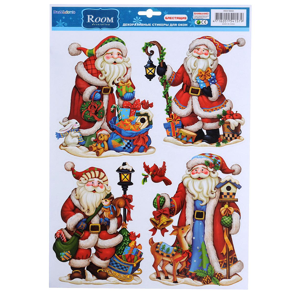 Новогоднее оконное украшение Room Decoration Дед мороз и Санта, 41 х 29 см наклейки для интерьера room decoration кокетка со стразами 50 х 32 см