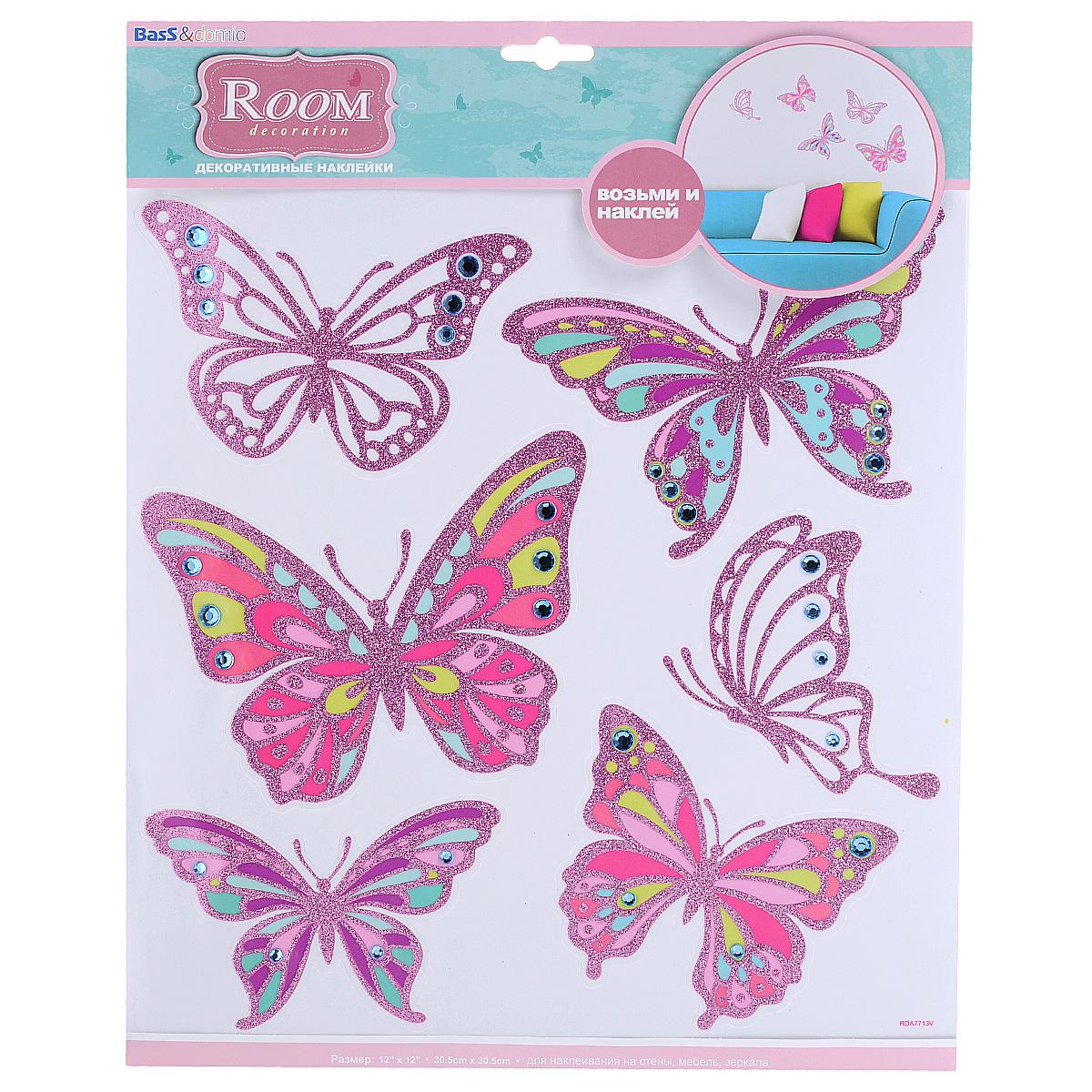 Наклейки для интерьера Room Decoration Бабочки со стразами, цвет: розовый, 30,5 х 30,5 см наклейки для интерьера room decoration цветы и бабочки 60 см х 32 см