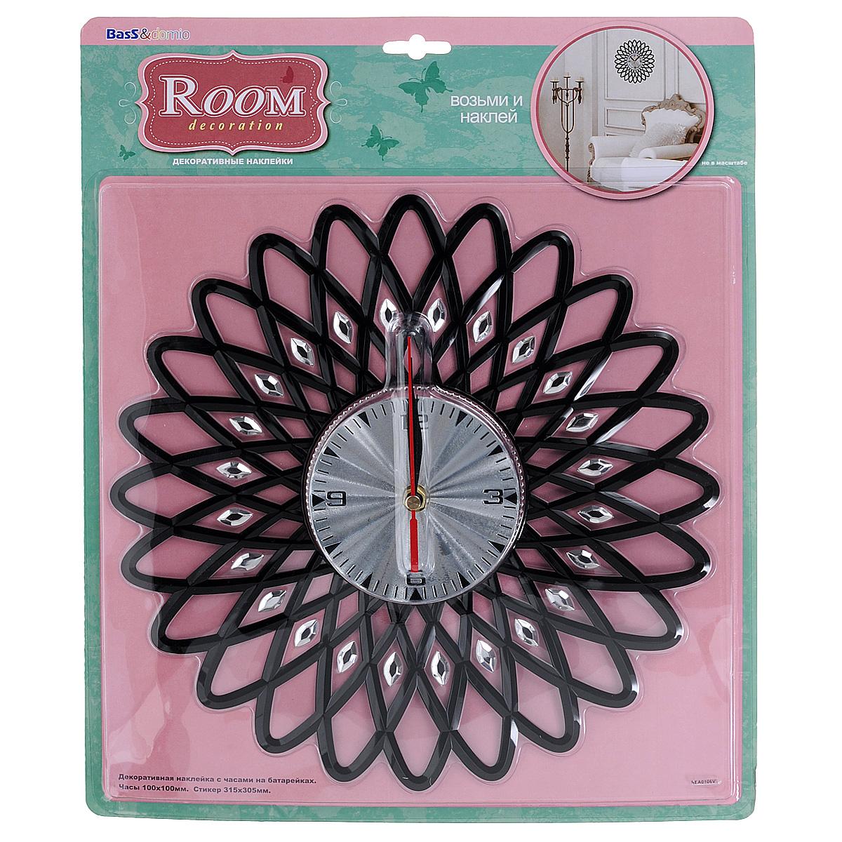 Наклейка-часы для интерьера Room Decoration, 31,5 см х 30,5 см наклейки для интерьера room decoration кокетка со стразами 50 х 32 см
