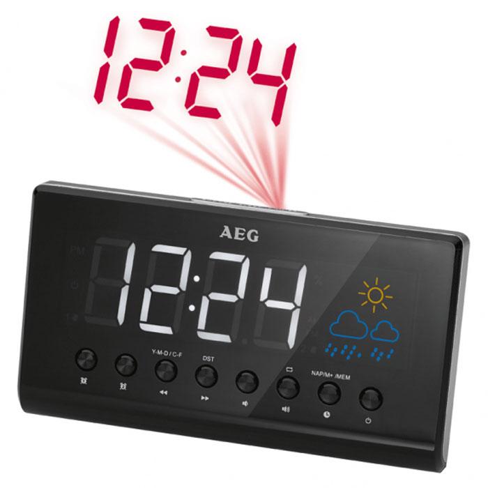 AEG MRC 4141 P, Black радиочасыMRC 4141 P schwarzAEG MRC 4141 P - радиобудильник с функцией проекции времени. Данная модель обладает большим черно-белым LCD-дисплеем с переменной интенсивностью, а также может отображать и другие параметры: дату, температуру и влажность. Прослушивать любимые радиостанции поможет встроенный PLL-тюнер с поддержкой FM-диапазона. На случай сбоя в питании имеется функция автосохранения времени.