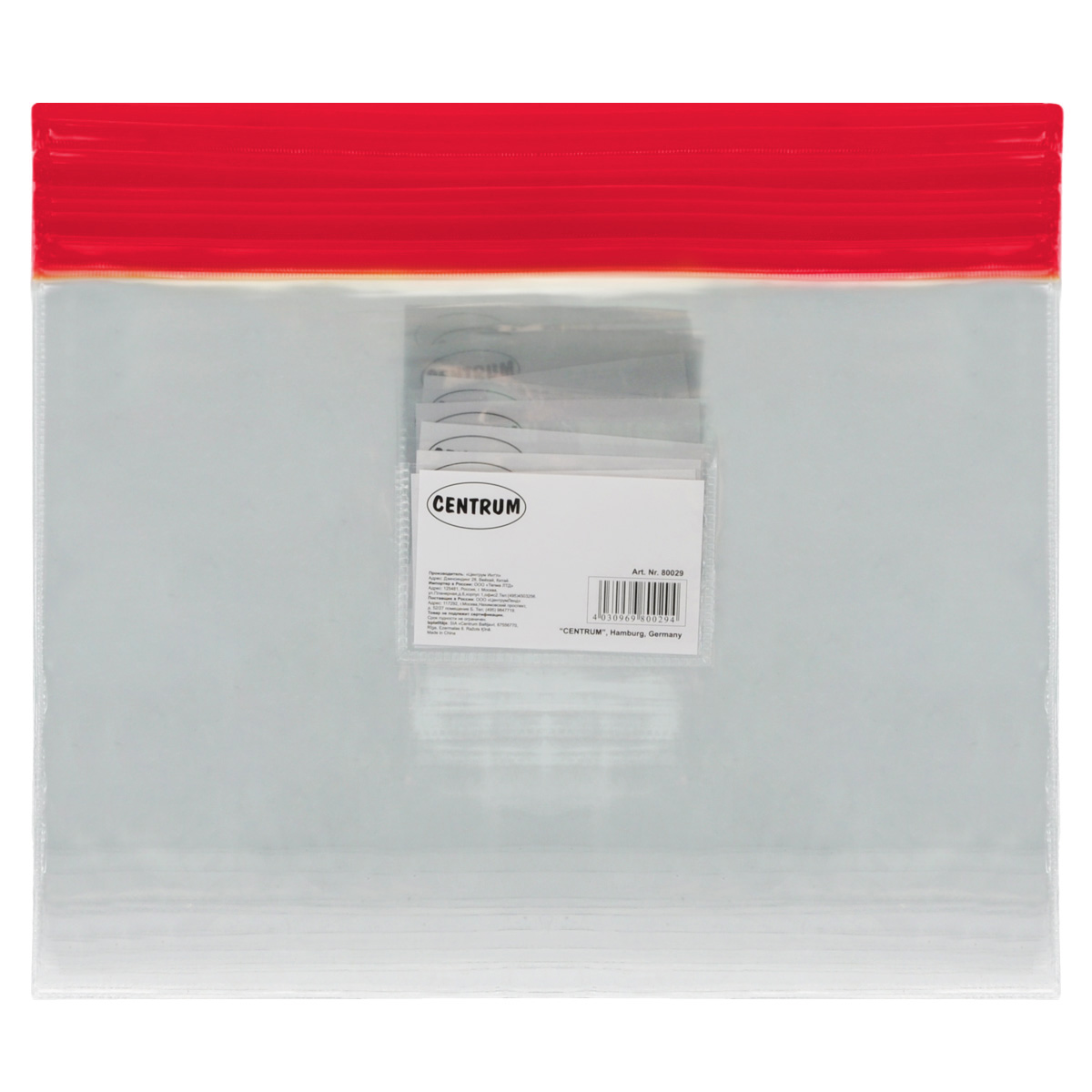 Папка-конверт на молнии Centrum, прозрачная, цвет: красный. Евроформат, 20 шт80027красн/прозрачн