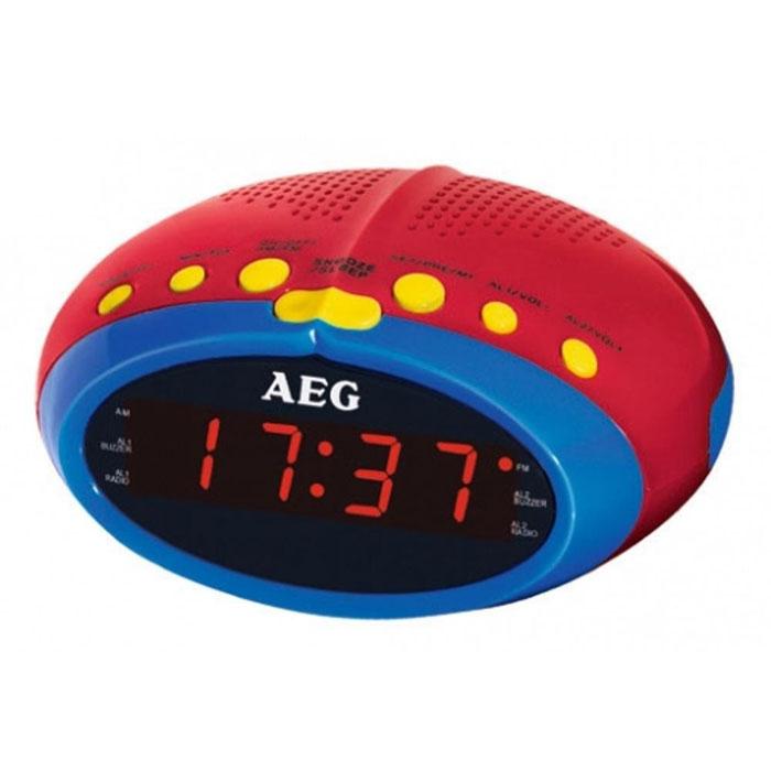 AEG MRC 4143 радиочасыMRC 4143 buntAEG MRC 4142 - радиобудильник из детской серии AEG с светодиодным дисплеем отображения времени и режимов работы. Прослушивать любимые радиостанции поможет встроенный PLL-тюнер с поддержкой FM-диапазона. Вы также можете выбрать сигнал пробуждения: радио или зуммер.Дипольная антенна Таймер автоматического отключения Повтор сигнала (режим дремать)