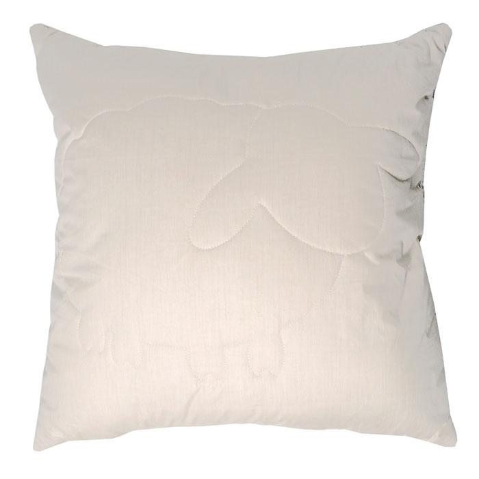 Подушка Лэмби, цвет: бежевый, 68 х 68 см подушка подушкино овечья наполнитель шерсть вискоза цвет бежевый 50 см х 72 см