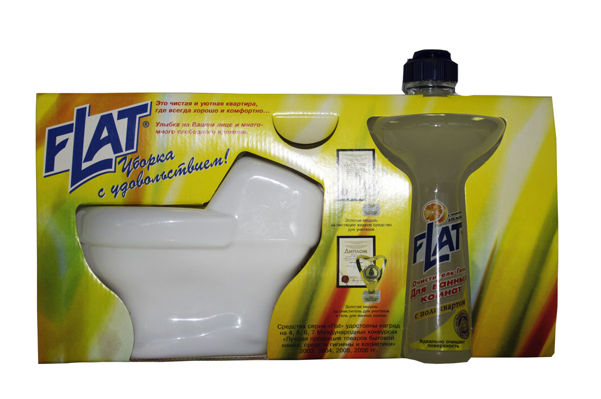 Набор Flat: очиститель унитазов, очиститель-гель для ванных комнат, с ароматом апельсина4600296001390Набор Flat включает: очиститель унитазов и очиститель-гель для ванных комнат.Очиститель для унитазов, фаянсовых раковин, никелированных изделий и кафеля. Удаляет ржавчину, устойчивые загрязнения, отложения мочевого и известкового камней. Обладает антимикробным действием. Устраняет неприятный запах. Имеет густую консистенцию. Не стекает с наклонных поверхностей. Специальная вставка-дозатор под крышкой позволяет использовать средство на труднодоступных поверхностях унитаза.Очиститель-гель для ванных комнат - мощное чистящее средство с натуральными маслами для устранения известкового налета, мыльных осадков и других загрязнений ванн, раковин, унитазов. Не повреждает очищаемую поверхность. Введенный в состав поликварт образует невидимую пленку, защищающую от загрязнений и позволяющую быстро высушивать поверхность. Вязкая консистенция позволяет использовать очиститель на неровных и труднодоступных поверхностях и расходовать экономно. Регулярное применение средства обеспечит длительный эффект чистоты. Характеристики:Вес очистителя унитазов: 480 г. Вес очистителя для ванны: 350 г. Производитель: Россия.Как выбрать качественную бытовую химию, безопасную для природы и людей. Статья OZON Гид