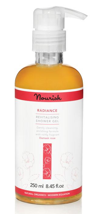 Nourish Гель для душа Radiance, с экстрактом розы, для нормальной и зрелой кожи, 250 мл nourish тоник спрей balance с экстрактом яблока для кожи смешанного типа 100 мл