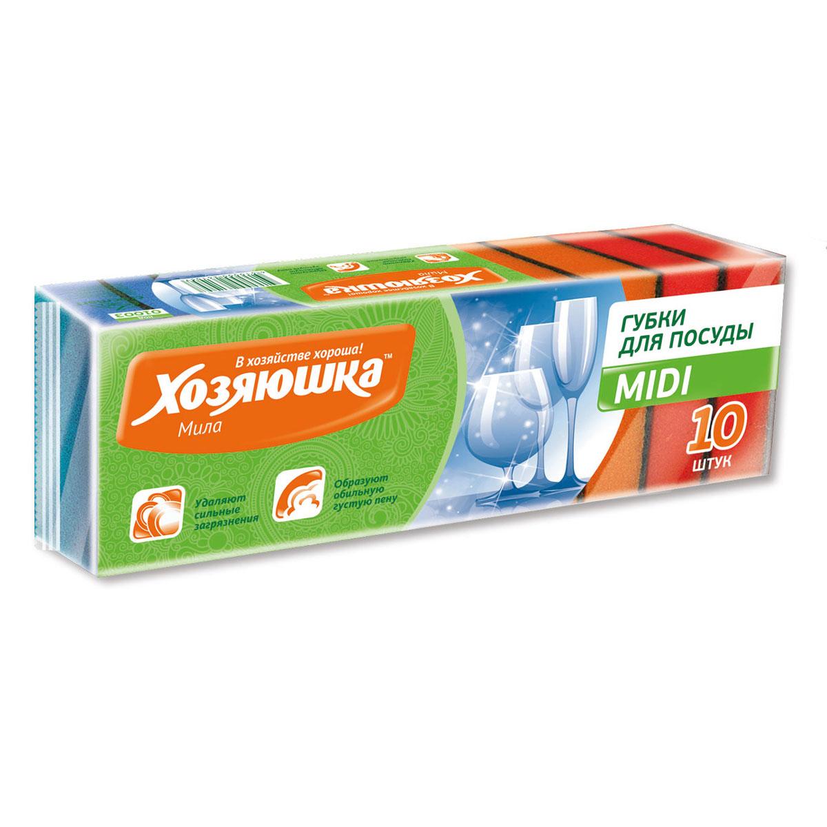 Набор губок для мытья посуды Хозяюшка Мила Midi, 10 шт01003Набор Хозяюшка Мила Midi состоит из трех губок для мытья посуды, изготовленных из абразивного полимера и поролона. Они подходят для тефлоновых поверхностей, долговечны. Губки Хозяюшка Мила Midi обладают высокой прочностью и химической стойкостью. Размер губки: 8,5 х 5 х 2,5 см.