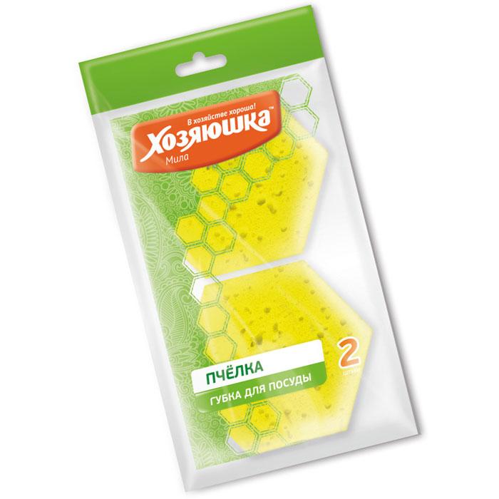 """Набор губок Хозяюшка Мила """"Пчелка"""" для тефлоновой посуды, в вакуумной упаковке, 2 шт"""