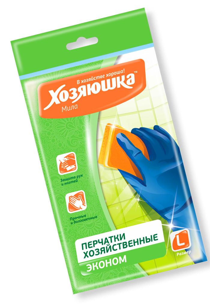 Перчатки хозяйственные Хозяюшка Мила Эконом, латексные. Размер L хозяюшка мила губка д посуды люкс 3шт 1108971