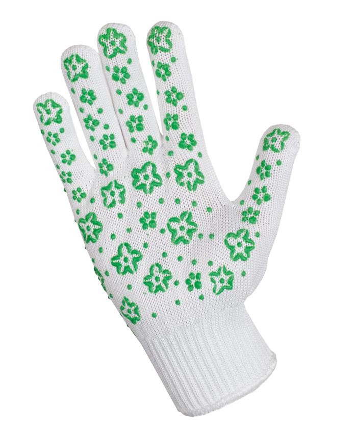 Перчатки садовые Хозяюшка Мила, цвет: зеленый. 1703217032Трикотажные перчатки с оригинальным антискользящим защитным напылением. Выдерживают более 50 стирок, прочные и долговечные за счет сочетания хлопковой и трикотажной нитей. Прекрасная альтернатива скучным перчаткам для работы в саду.