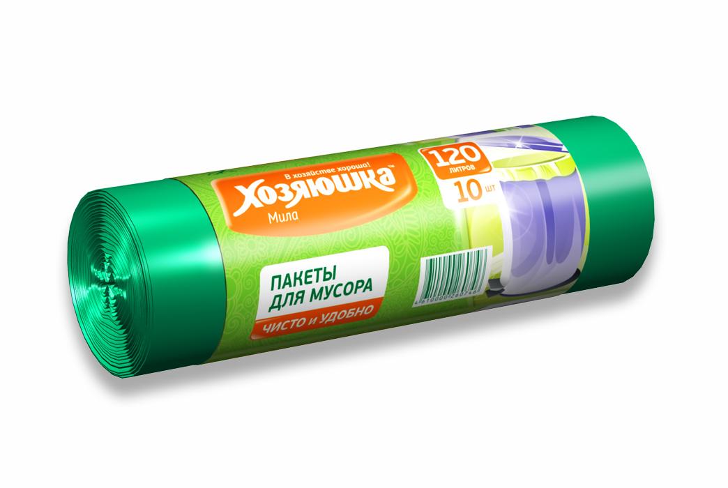 Пакеты для мусора Хозяюшка Мила, цвет: зеленый, 120 л, 10 шт07004-50Пакеты для мусора Хозяюшка Мила обеспечивают чистоту и гигиену в квартире и удобны для сбора и удаления мусора, занимают мало места, практичны в использовании. Широко применяются в быту и на производстве. Специальная перфорация позволяет легко отделить пакет от рулона.Объем мешка: 120 л.Количество в упаковке: 10 шт.