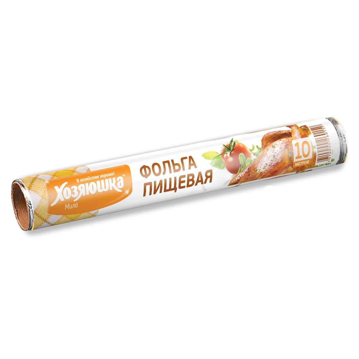 Фольга пищевая Хозяюшка Мила, длина 10 м09004-60Фольга Хозяюшка Мила, выполненная из алюминия, применяется для хранения и запекания продуктов. Прекрасно сохраняет полезные свойства продуктов, позволяет длительно хранить продукты питания. При запекании предотвращает разбрызгивание сока и жира, делает блюда сочными, аппетитными и полезными. Широкое полотно позволяет хранить и запекать крупные куски мяса и рыбы, овощей.Длина фольги: 10 м.