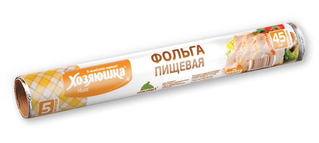 Фольга пищевая Хозяюшка Мила, 45 см х 5 м09007Фольга Хозяюшка Мила, выполненная из алюминия, применяется для хранения и запекания продуктов. Прекрасно сохраняет полезные свойства продуктов, позволяет длительно хранить продукты питания. При запекании предотвращает разбрызгивание сока и жира, делает блюда сочными, аппетитными и полезными. Широкое полотно позволяет хранить и запекать крупные куски мяса и рыбы, овощей.Длина фольги: 5 м.Ширина фольги: 45 см.