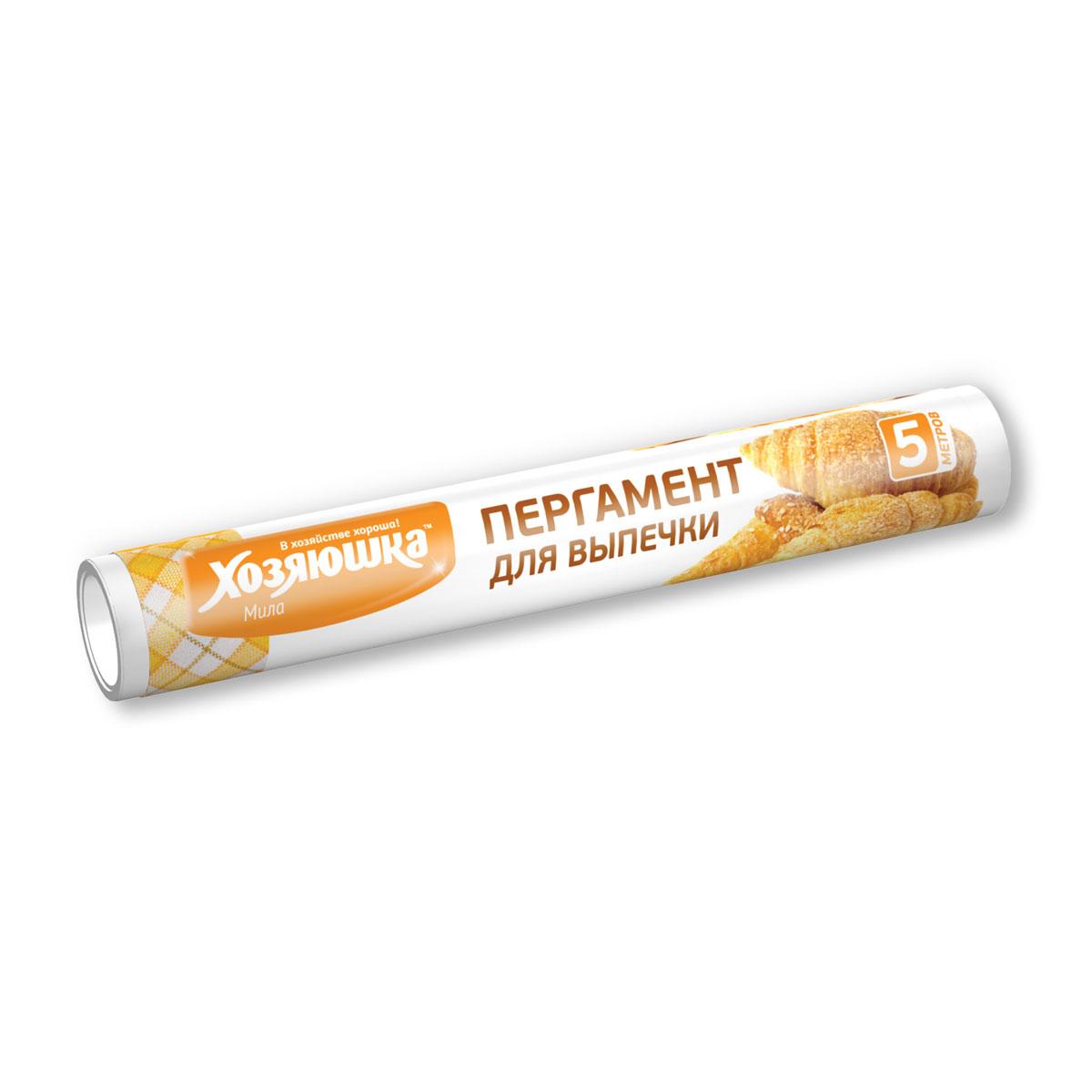 Пергамент для выпечки Хозяюшка Мила, пищевой, 5 м09014Пергамент для выпечки Хозяюшка Мила – экологичный, прочный, стойкий к высоким температурам материал. Особенность пергамента – это устойчивость к воздействию жира, поэтому пергамент идеален для выпечки, а также для упаковки пищевых продуктов: масло, творог, сыр, фарш.