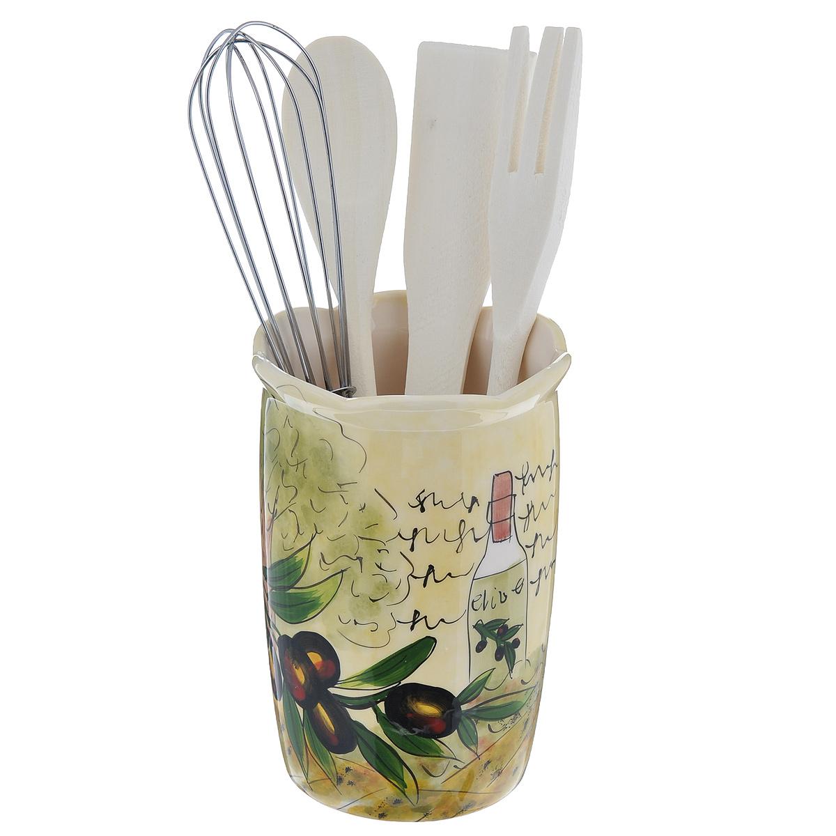 Набор кухонных принадлежностей Маслины, 5 предметовDFC02608-02208 5/SНабор кухонных принадлежностей Маслины состоит из лопатки, ложки, вилки, венчика и подставки. Лопатка, вилка и ложка выполнены из высококачественного дерева и предназначены для переворачивания, перемешивания различных блюд. Металлический венчик будет незаменим для приготовления теста или крема. Предметы набора хранятся в отдельной керамической подставке, декорированной изображением маслин.Оригинальный дизайн, эстетичность и функциональность набора позволят ему стать достойным дополнением к кухонному инвентарю.Можно мыть в посудомоечной машине на минимальной температуре.